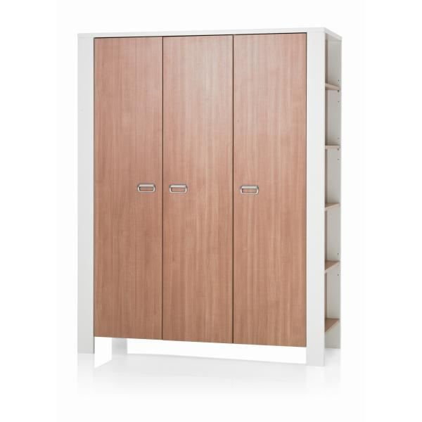 armoire enfant moderne 3 portes blanche marron c achat. Black Bedroom Furniture Sets. Home Design Ideas