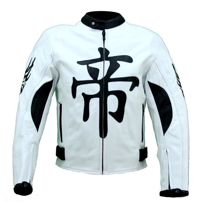 Kc001 Blouson cuir moto quad KARNO DEMON JAPAN blanc