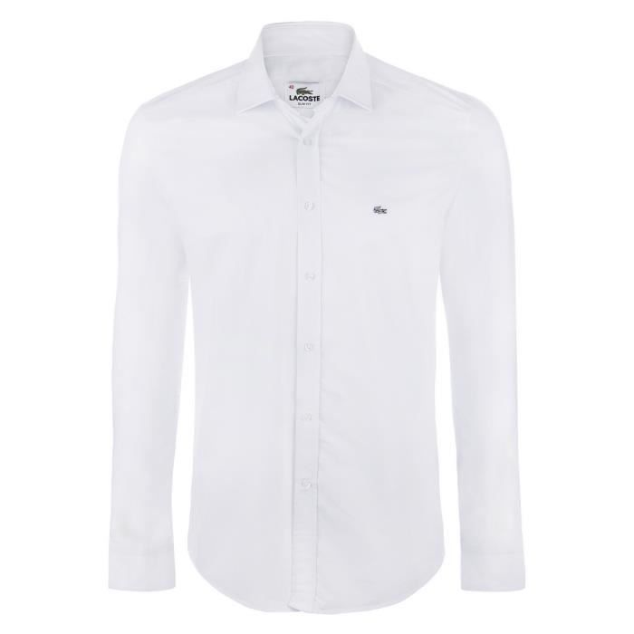 lacoste homme chemise slim fit stretch blanc blanc achat vente chemise chemisette cdiscount. Black Bedroom Furniture Sets. Home Design Ideas