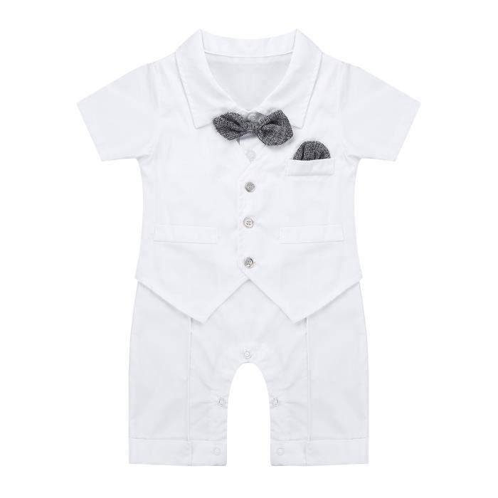 Fête Baptême smoking gris volants style nœud papillon costume Mariage Baby Boy Formal