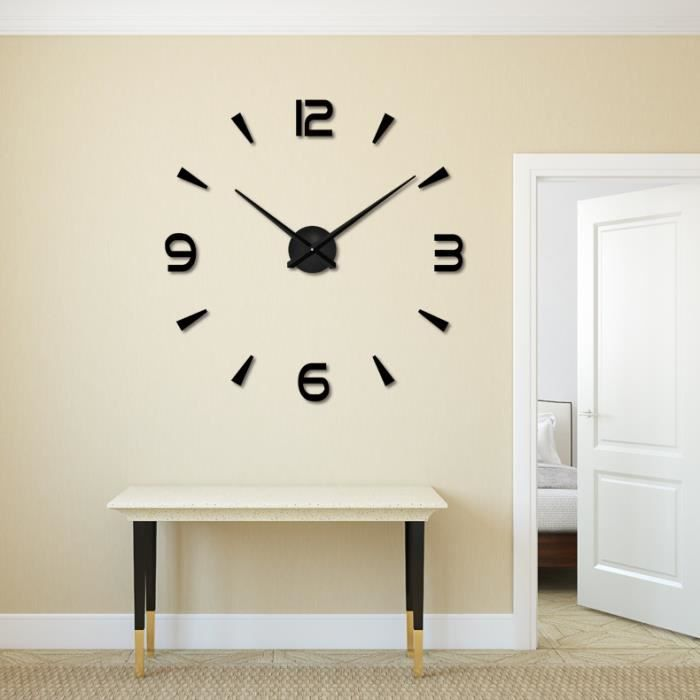 ocathnon 3d diy horloge murale design pendule m tallique adh sif sticker miroir mural chiffres. Black Bedroom Furniture Sets. Home Design Ideas