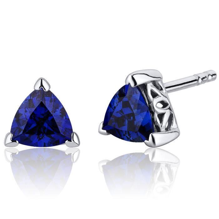 "Saphir Bleu Gemme Dangle Boucles d/'oreilles 1.5/"" 14k solide or blanc Leverbacks"