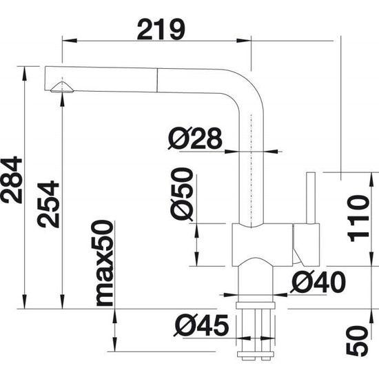 BLANCO Linus de s Vario Robinet de cuisine 516692 haute pression surface m/étalliques chrome