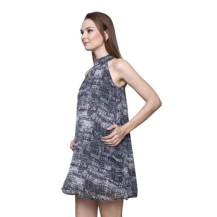 Womens Fit And Flare Printed Viscose Dress (tnu0009) YUZKT Taille-38
