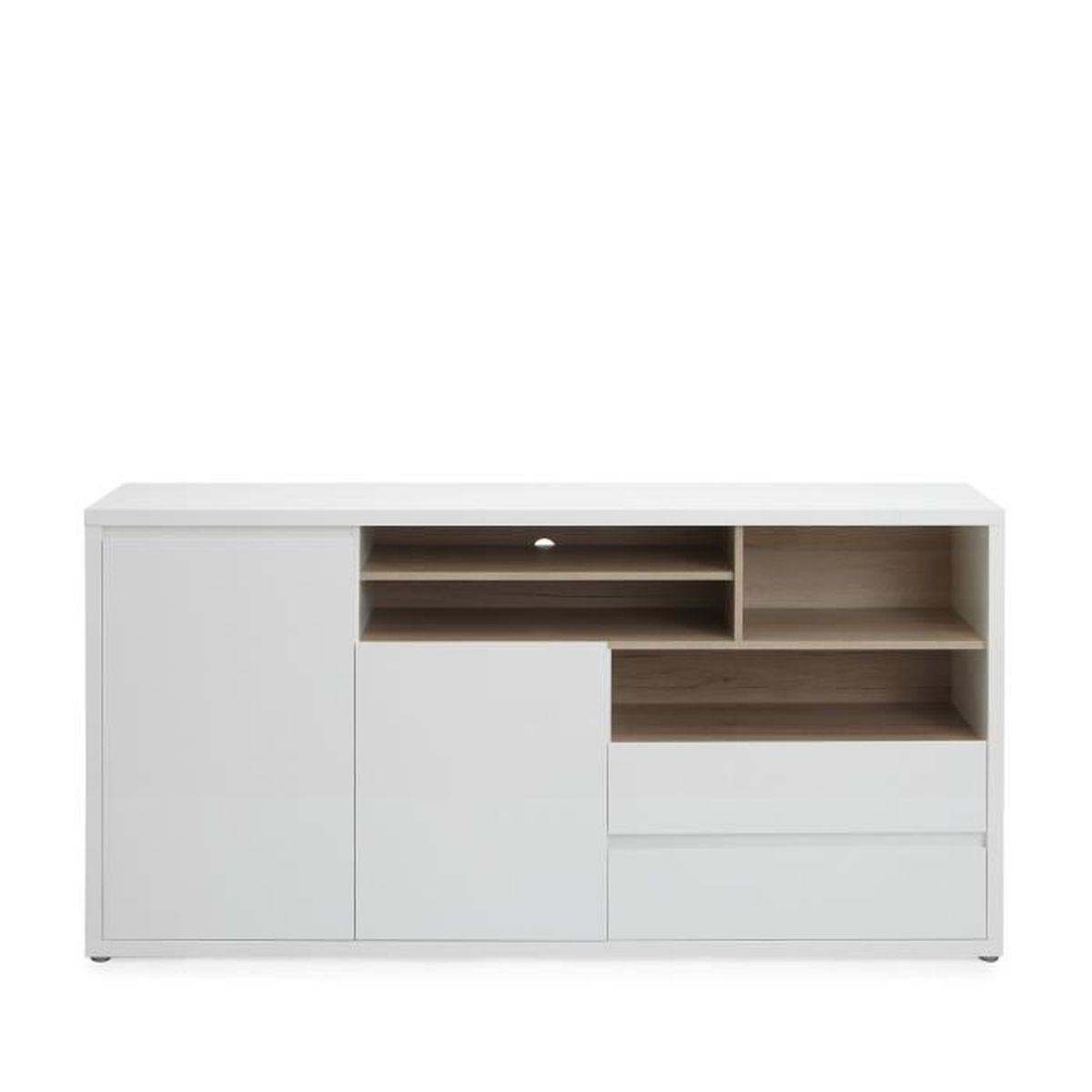 gen ve buffet bas 2 portes et 2 tiroirs coloris blanc. Black Bedroom Furniture Sets. Home Design Ideas