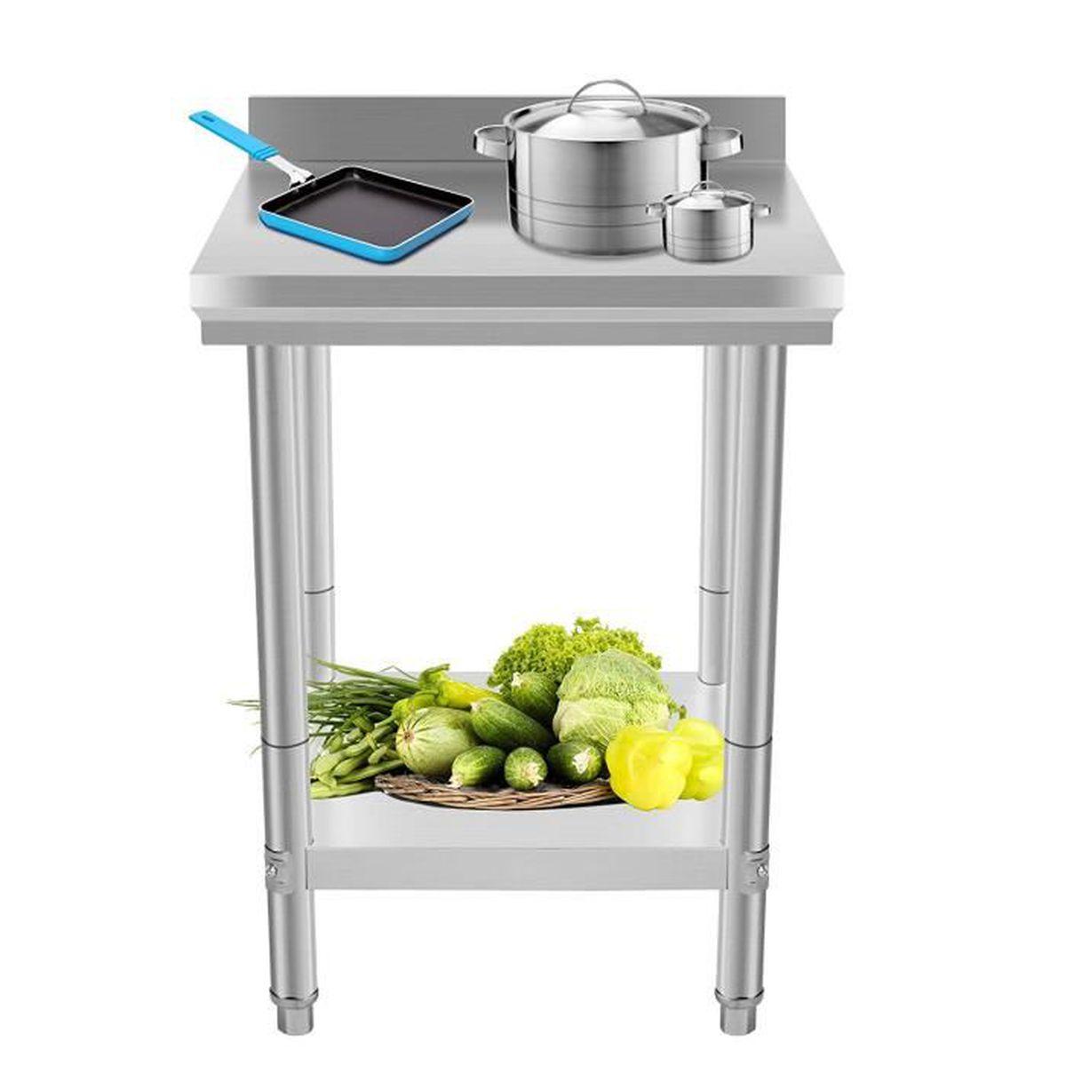 Table De Travail Inox Pour Cuisine 61 X 61 X 90 Cm Coolmall