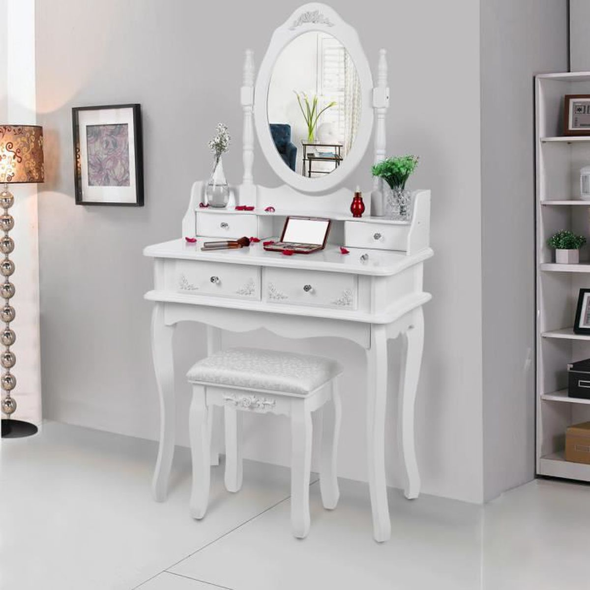 songmics coiffeuse 2 couches table de maquillage blanche. Black Bedroom Furniture Sets. Home Design Ideas