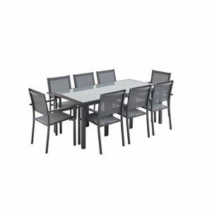 Ensemble table et chaise de jardin Capua 180 table de jardin 8 places alu/textilène