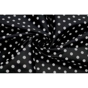 TISSU Tissu Satin de Coton Petit Pois Blanc-Noir -Au Mèt