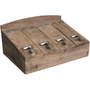 RANGE COUVERTS Boîte de Rangement Couvert Bois 40 cm x 27 cm x 19