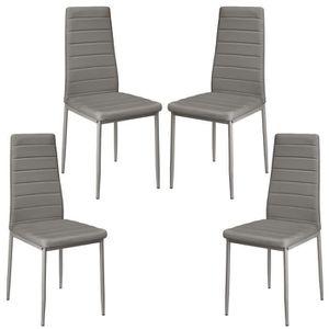 CHAISE Lot de 4 chaises salle à manger Gris Pour Cuisine
