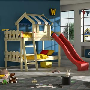 WICKEY Lit enfant avec toboggan CrAzY Hutty Lit mezzanine Lit cabane avec sommier à lattes rouge-bleu 90x200 cm toboggan rouge