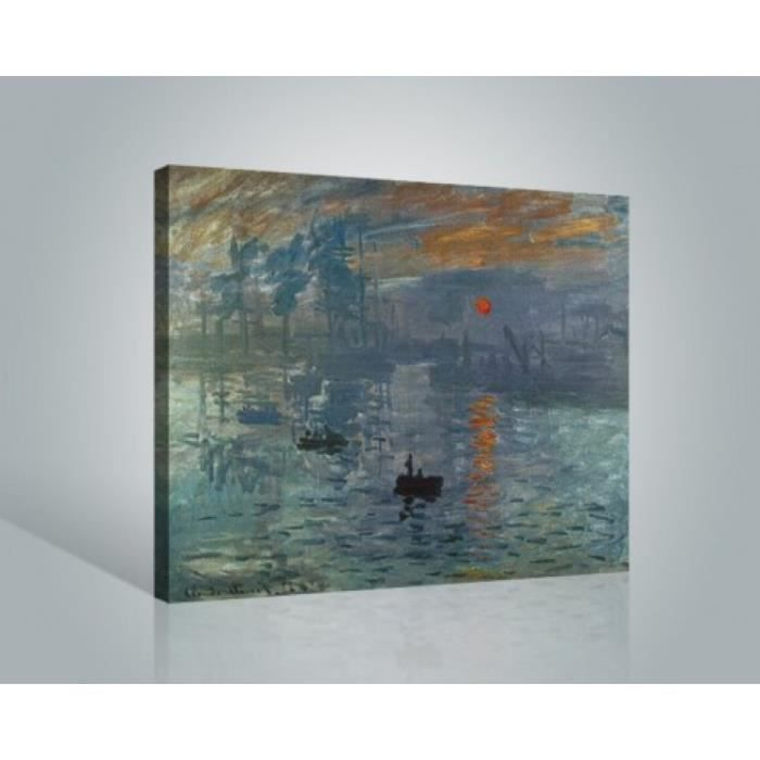 claude monet poster reproduction sur toile tendue sur ch ssis impression soleil levant 50 x. Black Bedroom Furniture Sets. Home Design Ideas