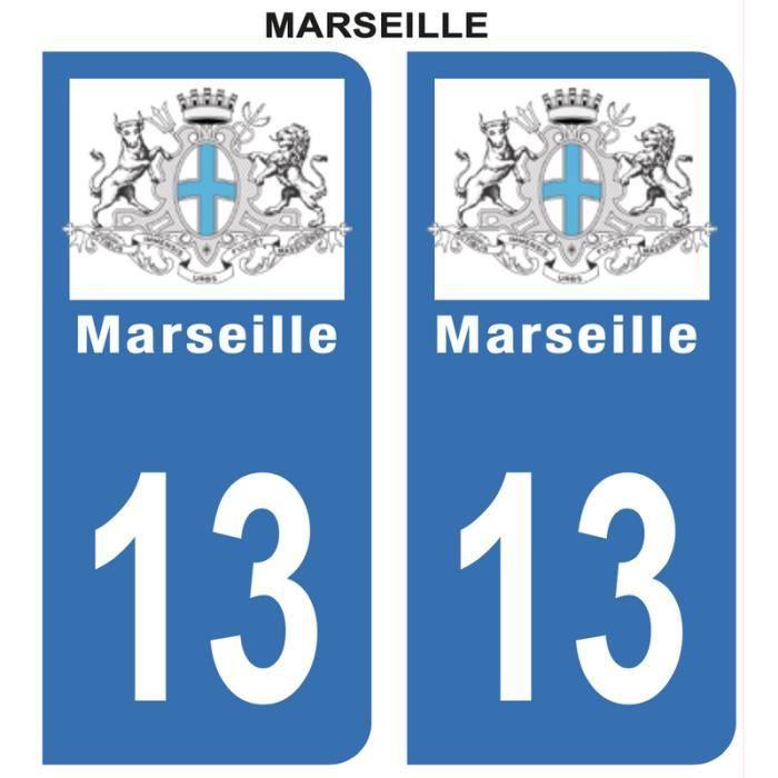 Autocollant Stickers plaque immatriculation voiture auto 13 Bleu Blason Ville Marseille Lot de 2