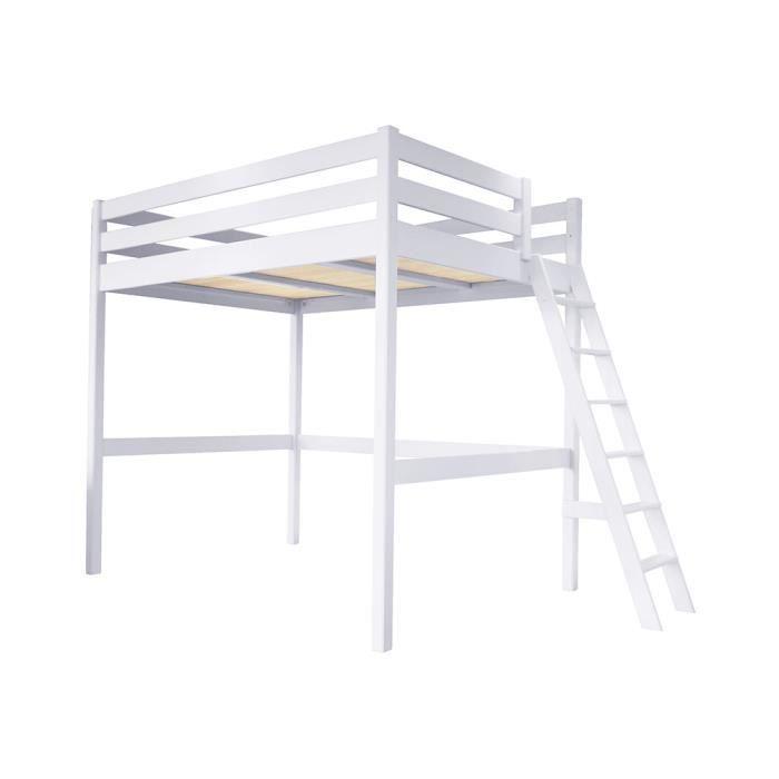 Lit Mezzanine Sylvia avec échelle bois - Couleur - Blanc, Dimensions - 160x200