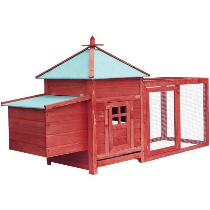 YAJ Abris / cages pour petits animaux Poulailler avec nichoir Rouge 193 x 68 x 104 cm bois de pin massif, contreplaqué