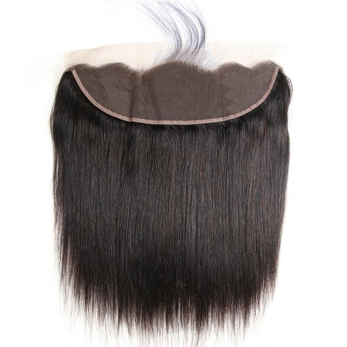 13*4 pouces Top Lace Frontal Bresilien Lisse 100% Vierge Closure Naturel Noir Free Part 14--35cm