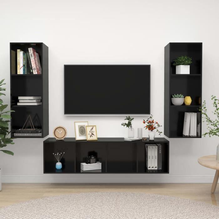 Unique Ensemble de meuble TV 3 pcs Ensemble de meuble TV suspendu MEUBLE TV MURAL COMPLET Noir brillant Aggloméré 2851