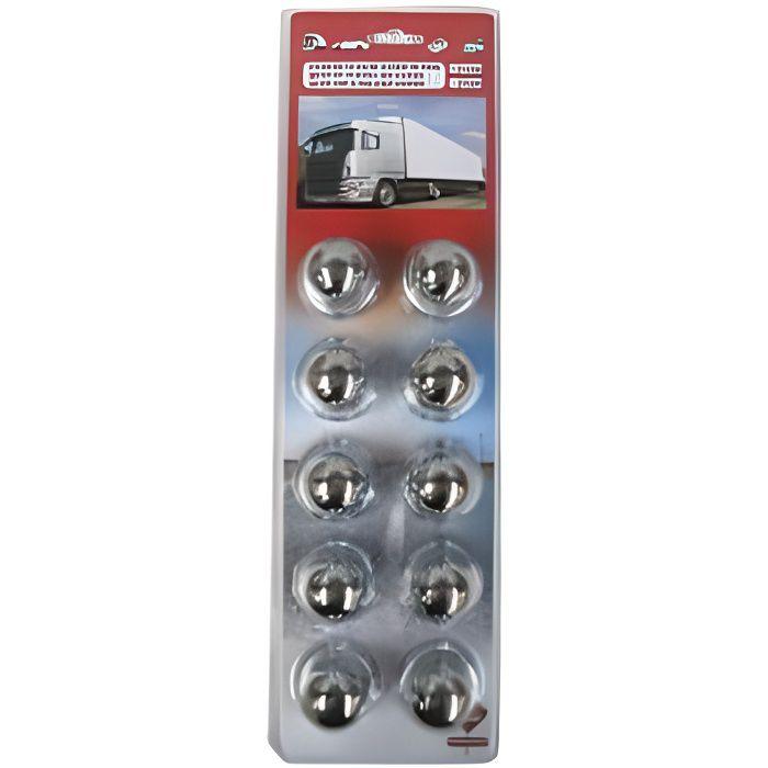 Cache Écrous Métal Chromé de Diamètre 32 pour Camion
