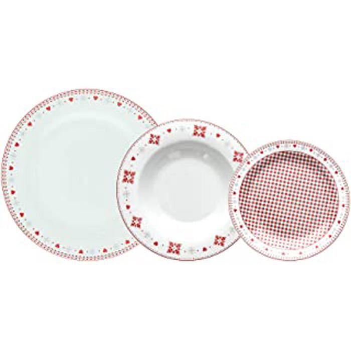 Vichy Service De Table 18 Pièces, Porcelaine, Rouge