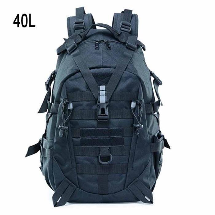 40L Black 50 - 70L -Molle – sac à dos tactique militaire de 60l, grands sacs à dos étanches de Camping, de randonnée en plein air, X