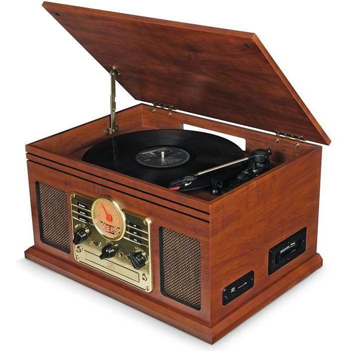 Platine Vinyle, Tourne Disque Vintage Bluetooth avec Enceintes - Radio FM/Lecteur de CD/Cassette/Carte SD/USB MP3 (Marron)