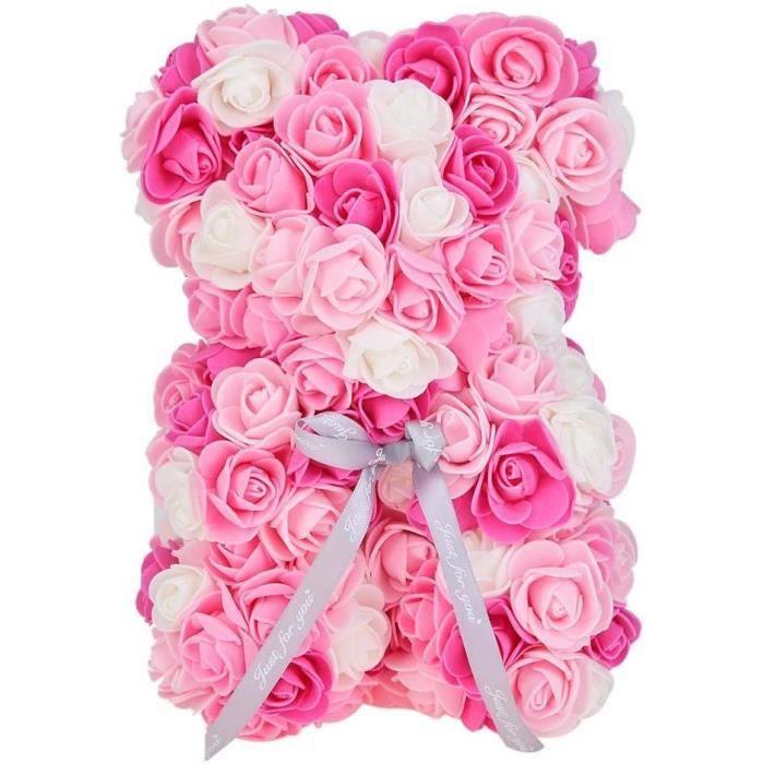 FLEUR-PLANTE ARTIFICIELLE - FLEUR SECHEE Domybest Ours Rose Eternelle 28cm Ours Rose Artificielle Couleur Mixte Ours Saint Valen416