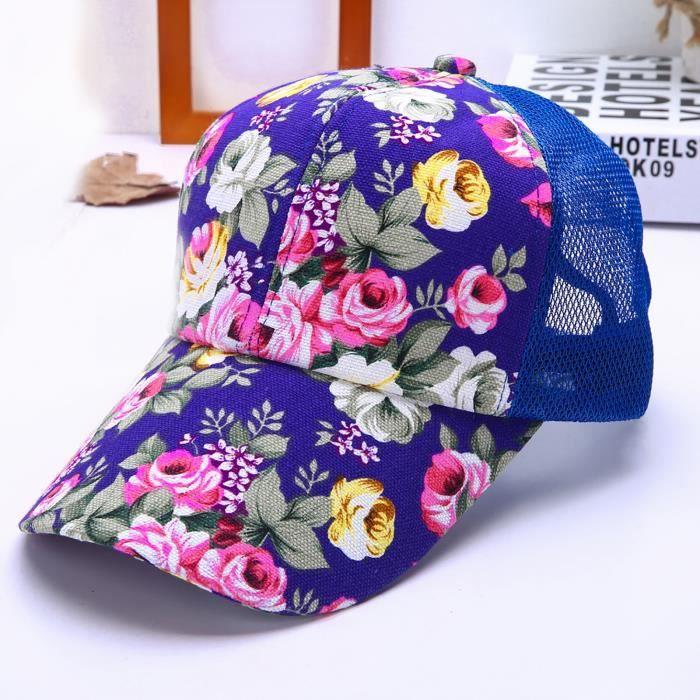 Casquette de baseball tout-match de protection solaire avec impression de nouvelles fleurs pour femmes r1057