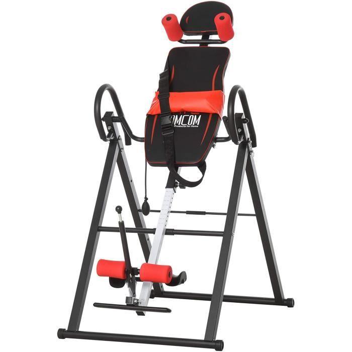 BANC DE MUSCULATION HOMCOM Table d'inversion de Musculation Pliable Ceinture de s&eacutecurit&eacute r&eacuteglable Angle i227