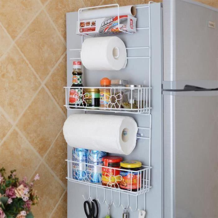 TS11189-Etagere rangement cuisine, Etagere murale cuisine, Etagere a epices cuisine, Etagere a suspendre pour refrigerateur av