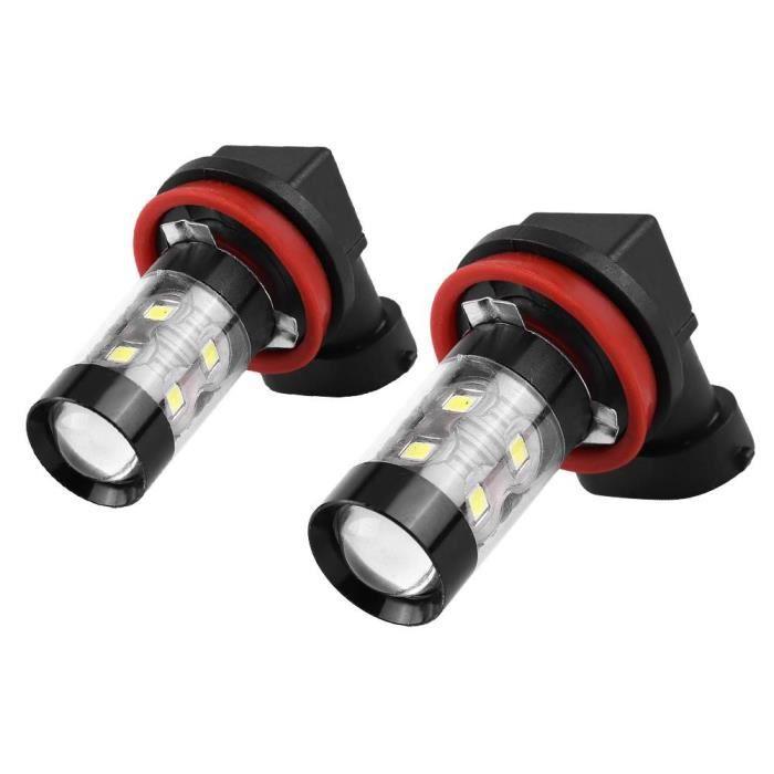 Zerodis Ampoule LED H11 2 pcs H8 H11 12V-24V 50W Voiture Haute Puissance Brouillard LED Brouillard Ampoules De Jour