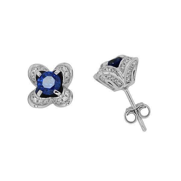 Boucles d'oreilles en Argent orné de 114 Cristaux Swarovski Zirconia Blancs et Bleu