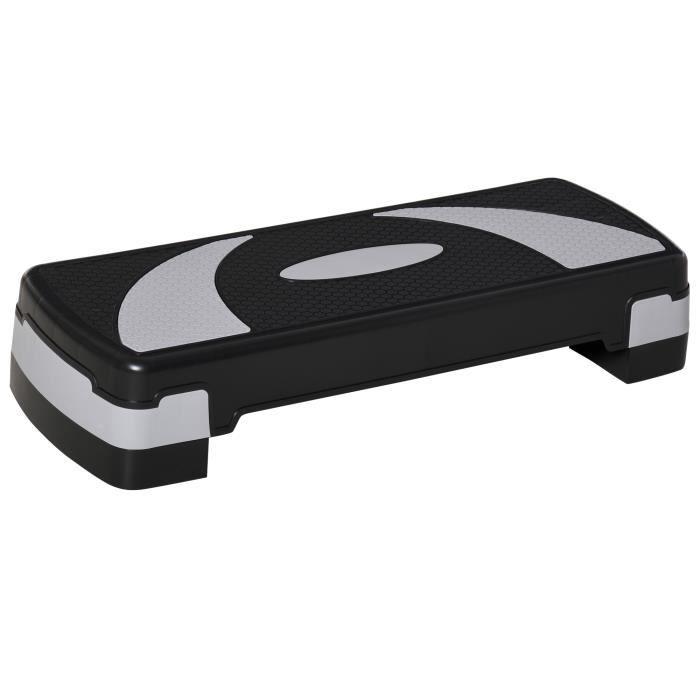 Stepper Fitness Aerobic hauteur reglable surface antiderapante 80 x 31 x 20 cm noir gris clair 77BK