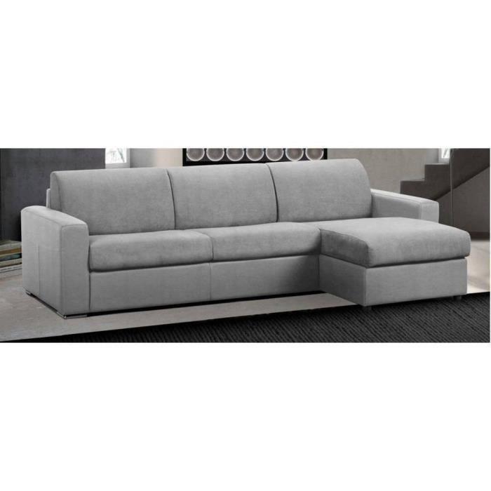 Canapé d'angle réversible EXPRESS MASTER COUCHAGE 160cm MATELAS 18CM polyuréthane gris gris Microfibre Inside75