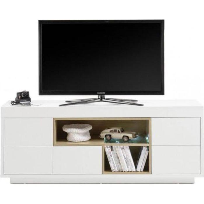 Meuble TV CLEO 169 cm blanc laqué mat 2 portes 1 tiroir 2 niches décor chêne blanc MDF Inside75