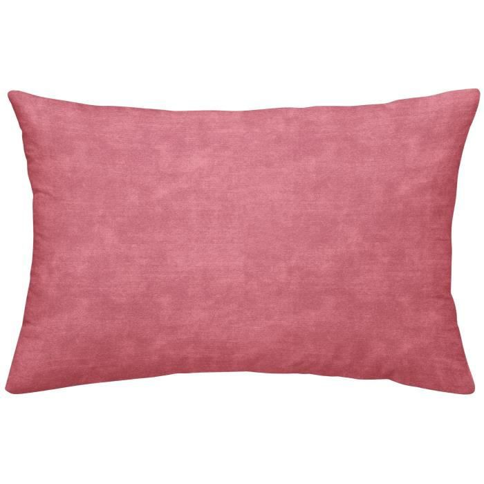 TODAY TROPIK SUMMER Coussin déhoussable Aurora - Velours et chambray - 30 x 50 cm - Rose