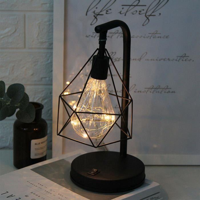 Lampe à poser Lampe de chevet/table Lumière rétro noir géométrique industriel LED vintage ligne Cadeau élégant Décoration de maison
