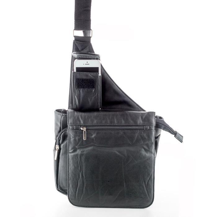 Sacoche holster multi-poches en cuir d agneau pour femme - Noir