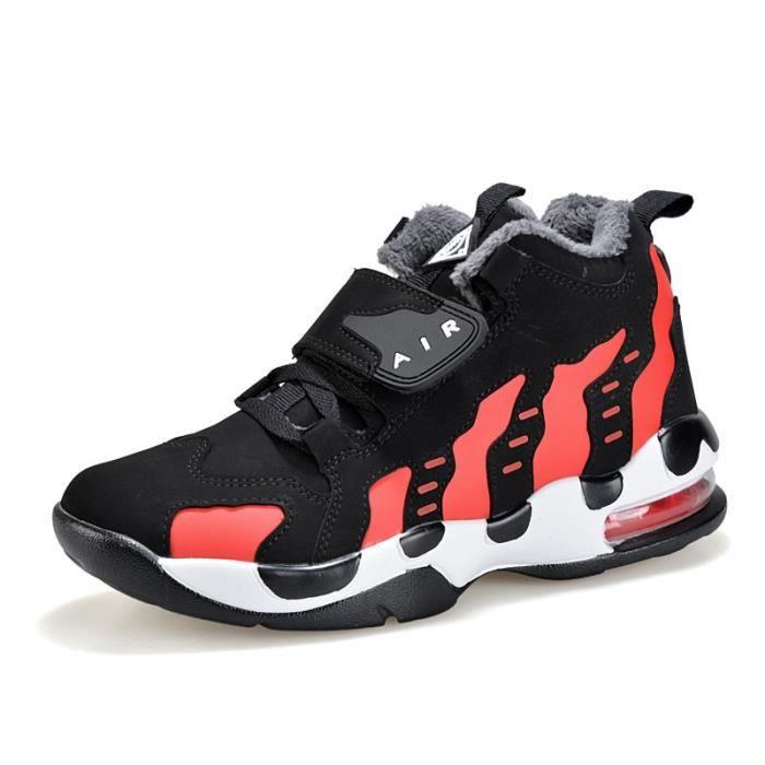 Rouge Basket Chaussure de sport Homme d'hiver en velours chaud course respirant Entrainement Imperméable Sneakers Antidérapant