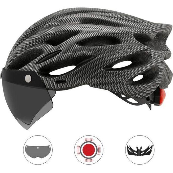 SURENHAP - Casque de Vélo avec Visière et Lampe d'avertissement - M / L (54-61cm) - Rithok -59as85f