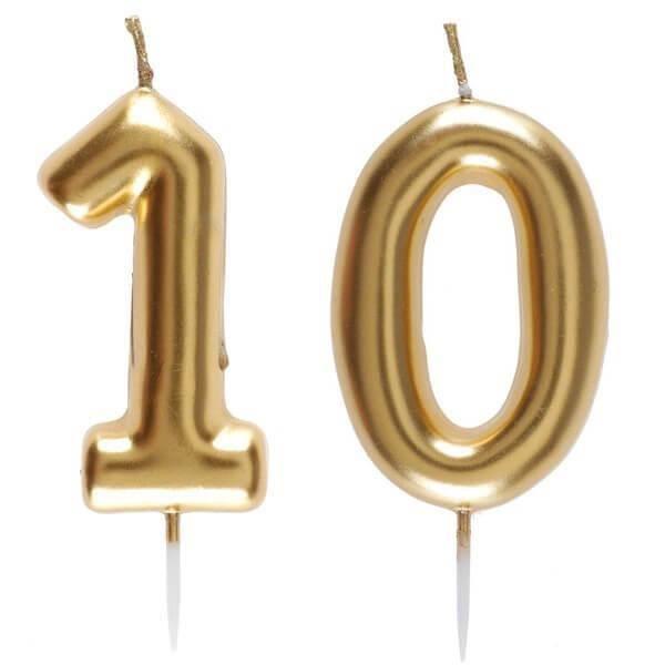 1 Pack bougie anniversaire 10 ans pour décoration gâteau anniversaire REF/6933