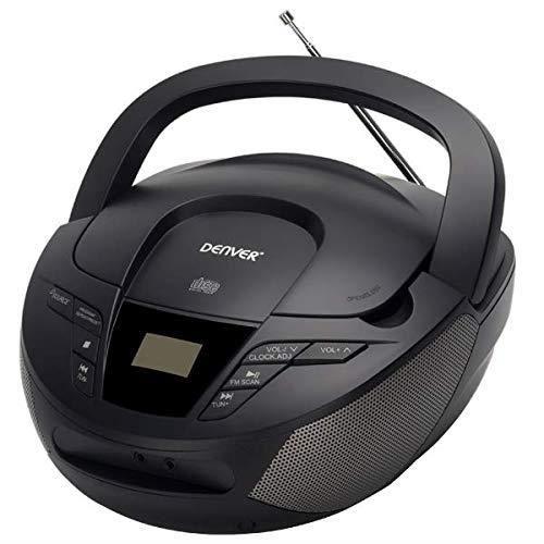 Denver TC-28BLACK. Lecteur CD Portable et Radio FM. Boombox Haut-parleurs 2 W. Entrée AUX.