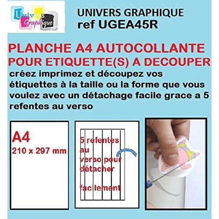 100 Papier adhésif blanc A4 autocollant SPECIAL DECOUPE feuille adhésive pour créer imprimer vos étiquettes sur imprimante 5 re-fent