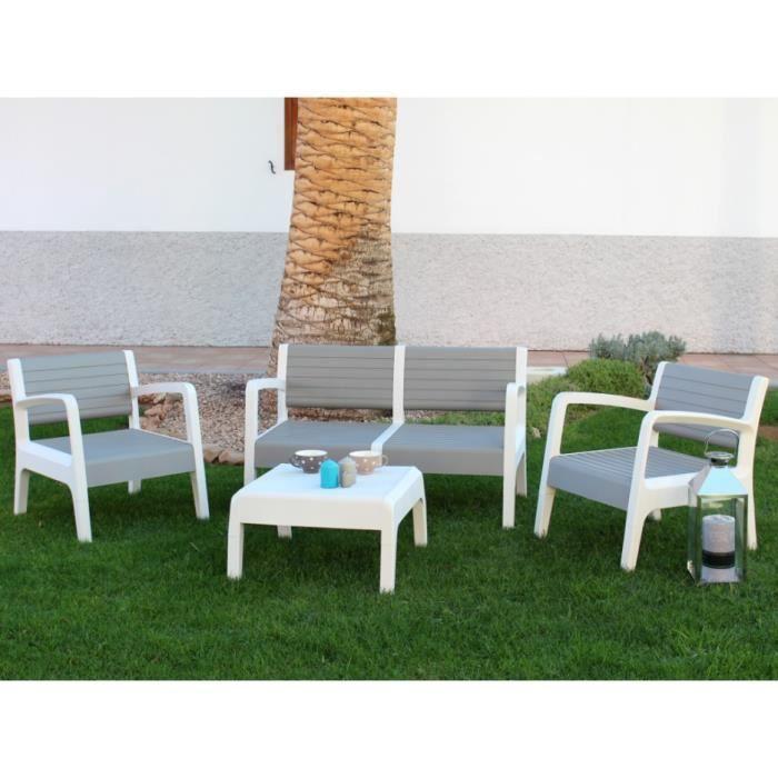 Salon de jardin MIALI en PVC : 2 fauteuils, un canapé 2 places, une table basse - structure gris clair assise blanche