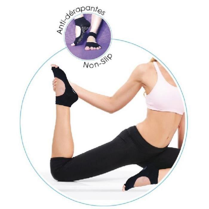 SUN&SIA - Paire de Chaussettes Yoga - Flexibles et Confortables - Taille Unique - Matière: Coton, élasthane et spandex