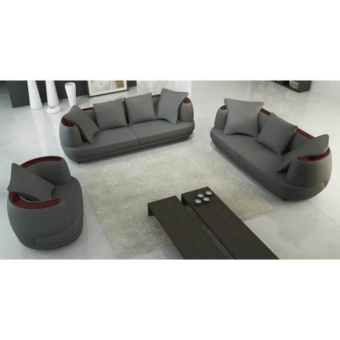 Ensemble canap 3 2 1 places en cuir gris ryga achat for Canape 2 places arrondi