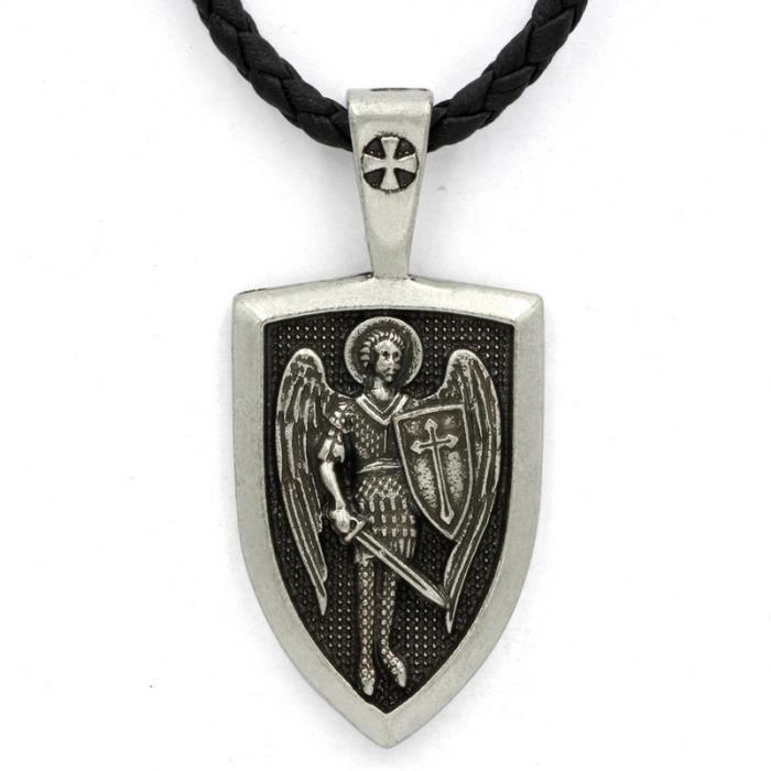 Collier pour homme avec pendentif Archange St Michael Protect Me Saint Bouclier de protection russe Orhodox