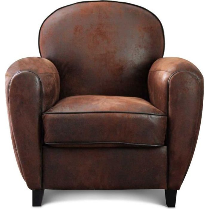 fauteuil club microfibre marron vintage havane achat. Black Bedroom Furniture Sets. Home Design Ideas