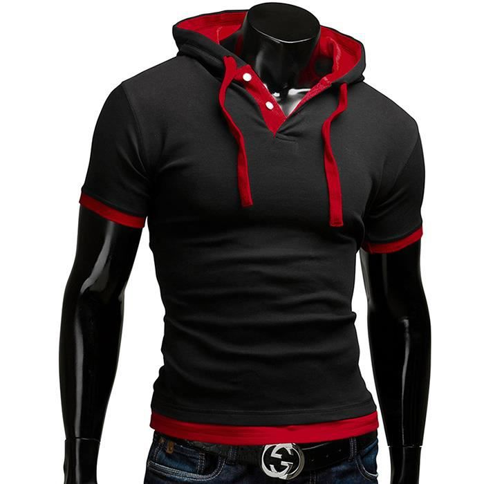 t shirt capuche manches courtes homme polo sweat slim. Black Bedroom Furniture Sets. Home Design Ideas