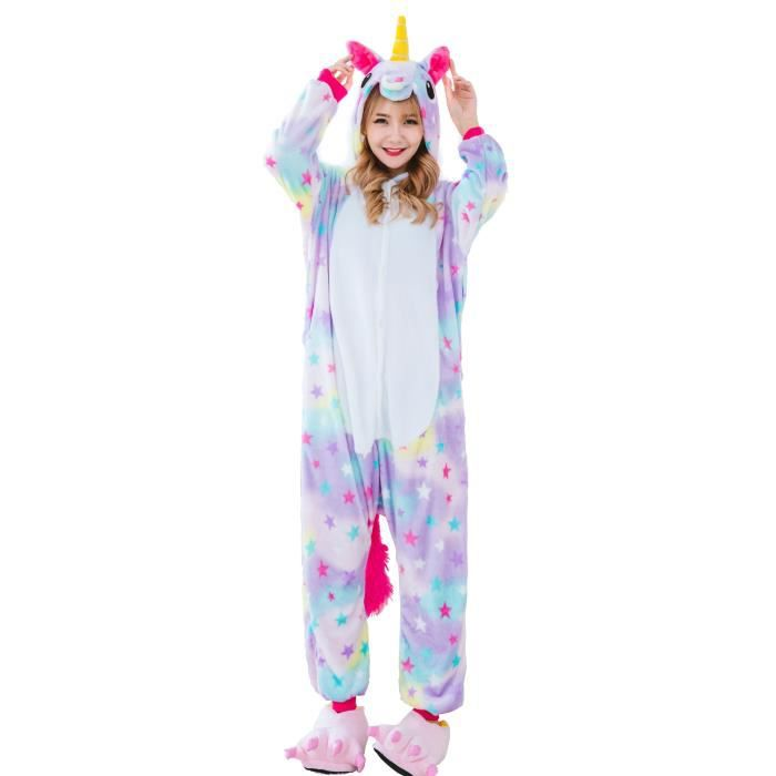 licorne kigurumi pyjamas combinaison costume hommes femmes violet violet achat vente. Black Bedroom Furniture Sets. Home Design Ideas
